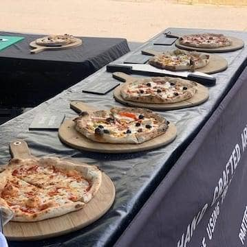 a pizza van providing a free lunch