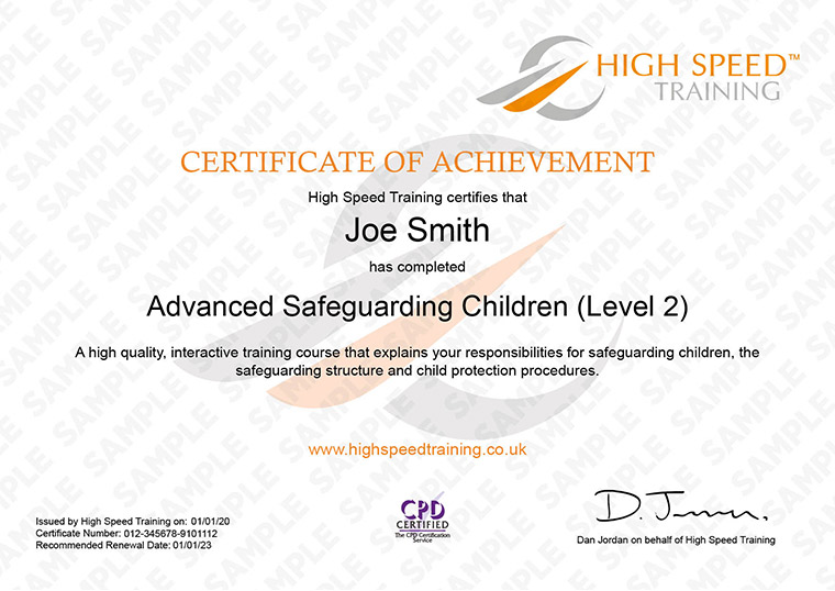 Advanced Safeguarding Children - Example Certificate