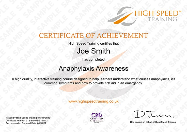 Anaphylaxis Awareness - Example Certificate