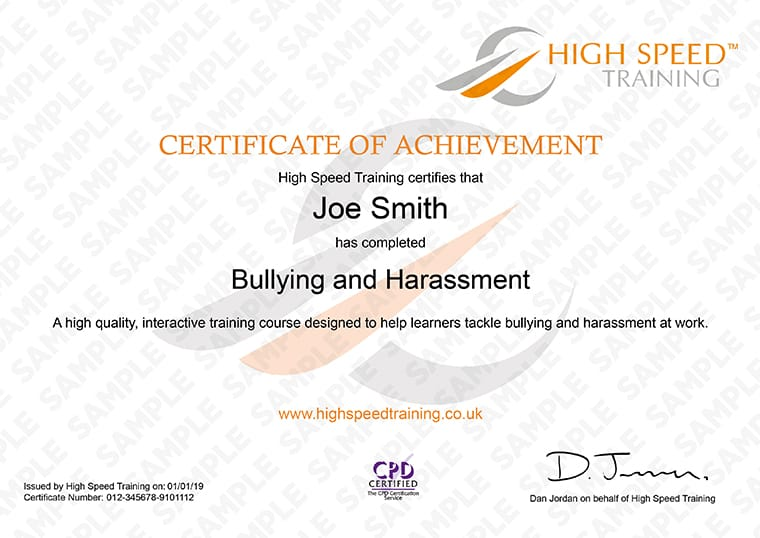 Bullying and Harassment - Example Certificate