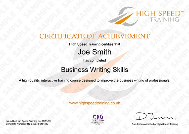 Business Writing Skills - Example Certificate