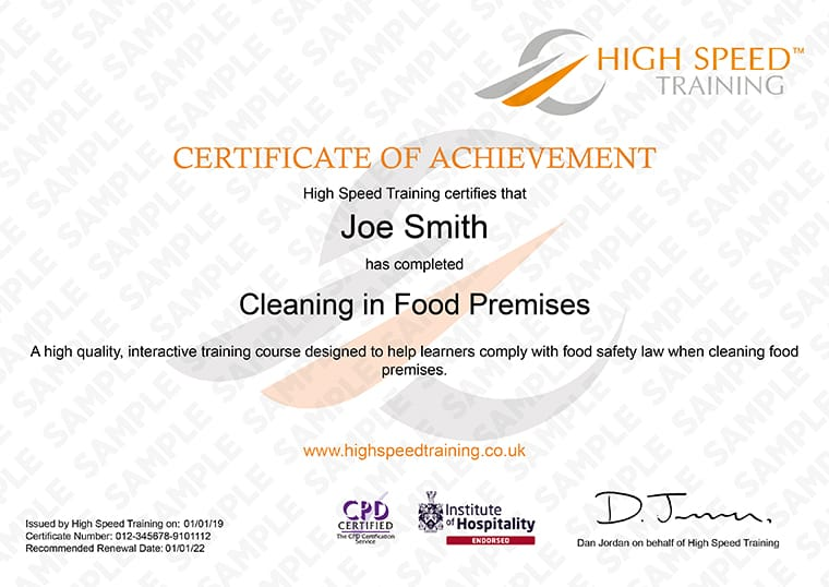 Cleaning in Food Premises - Example Certificate