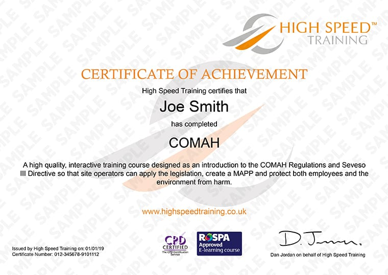 COMAH - Example Certificate