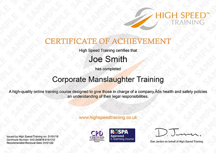 Corporate Manslaughter Training - Example Certificate