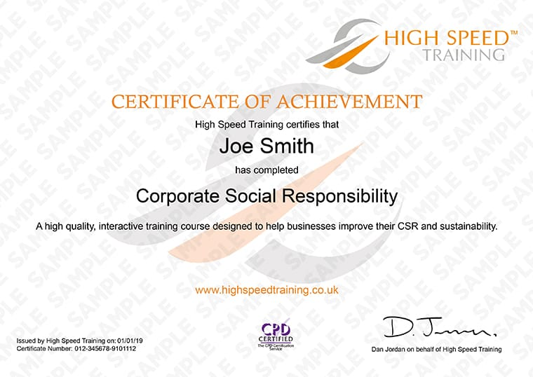 Corporate Social Responsibility - Example Certificate