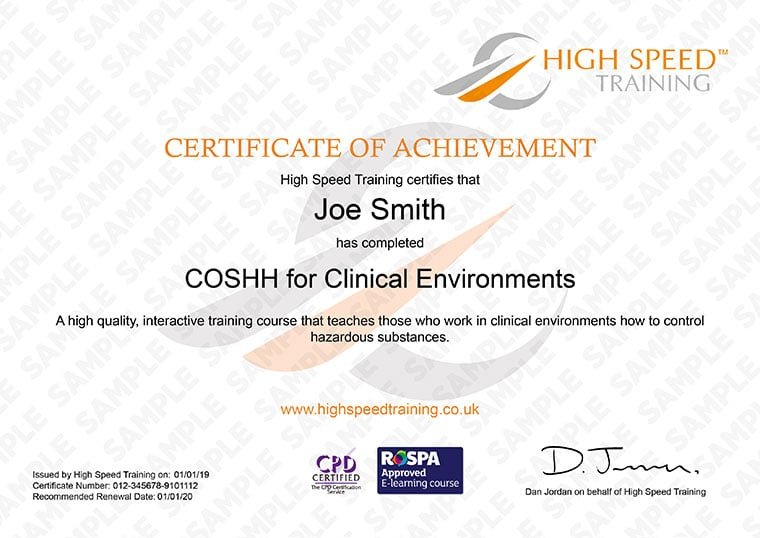 COSHH for Clinical Environments - Example Certificate