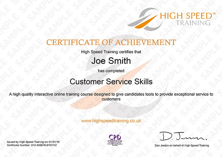 Customer Service Skills - Example Certificate