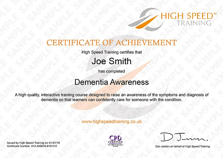 Dementia Awareness - Example Certificate