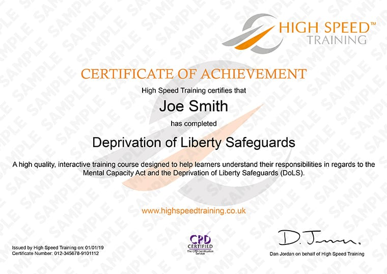 Deprivation of Liberty Safeguards (DoLS) - Example Certificate