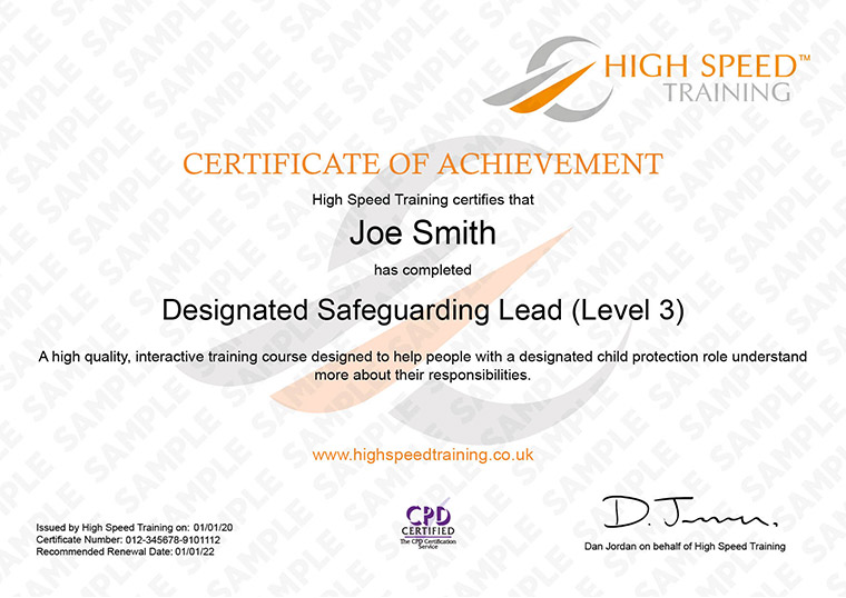 Designated Safeguarding Lead - Example Certificate