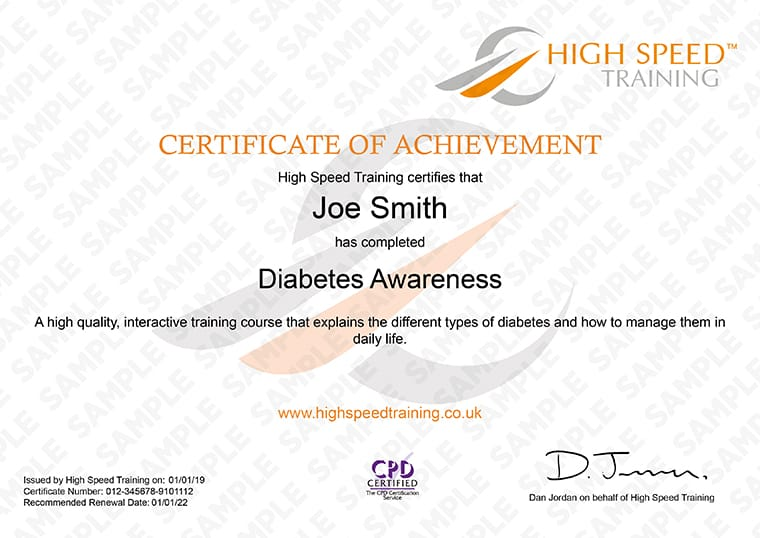 Diabetes Awareness - Example Certificate