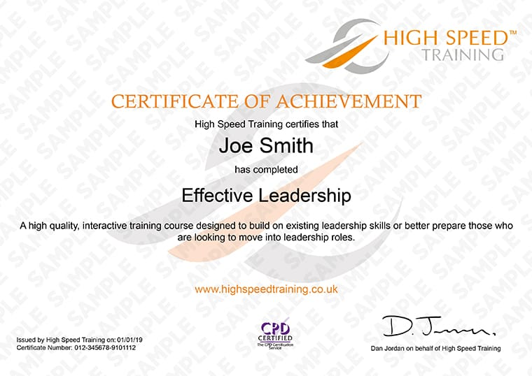 Effective Leadership - Example Certificate