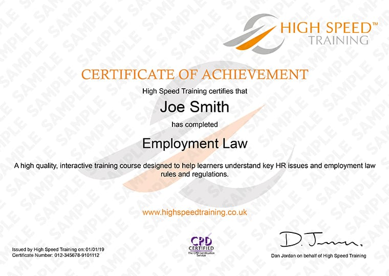 Employment Law - Example Certificate