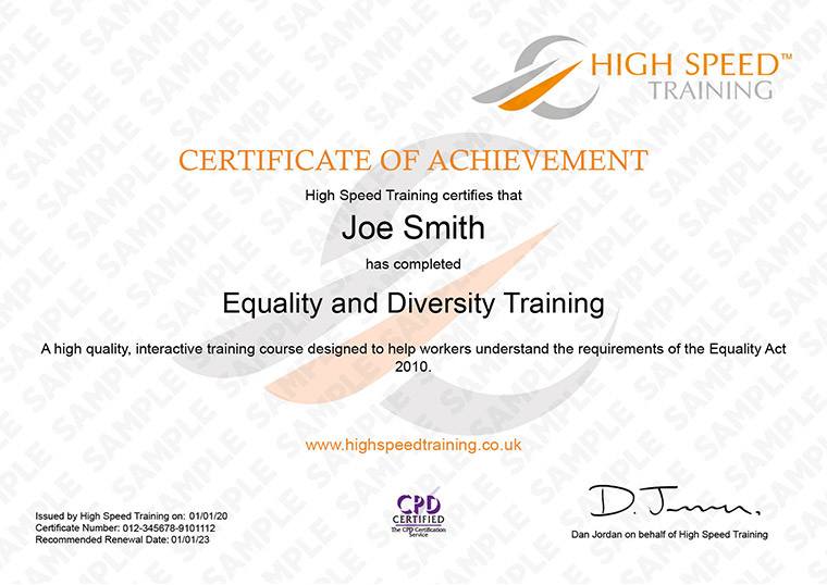 Equality and Diversity - Example Certificate