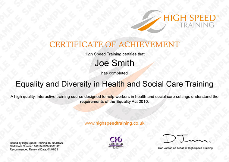 Equality & Diversity in Health & Social Care - Example Certificate