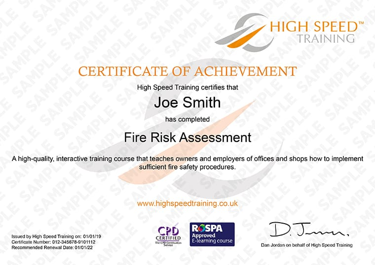 Fire Risk Assessment - Example Certificate