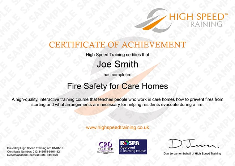 Fire Safety For Care Homes - Example Certificate