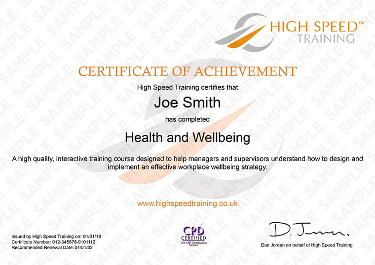 Health and Wellbeing - Example Certificate