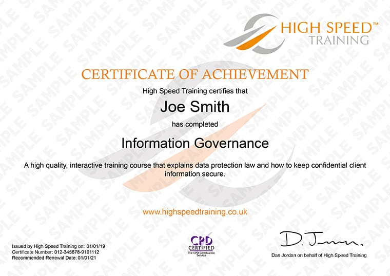 Information Governance Training - Example Certificate