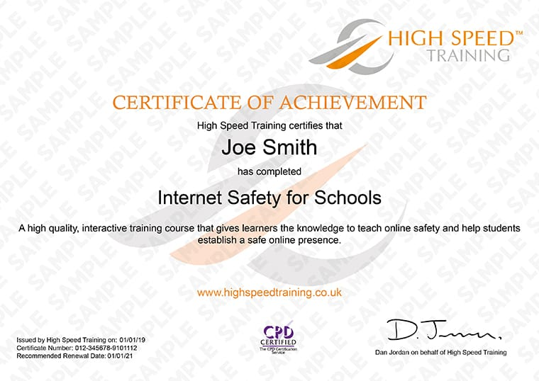 Internet Safety For Schools - Example Certificate
