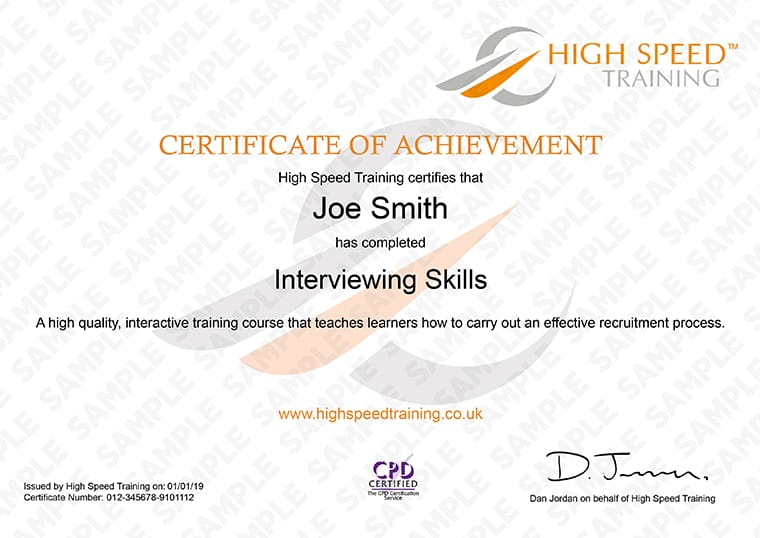 Interviewing-Skills - Example Certificate