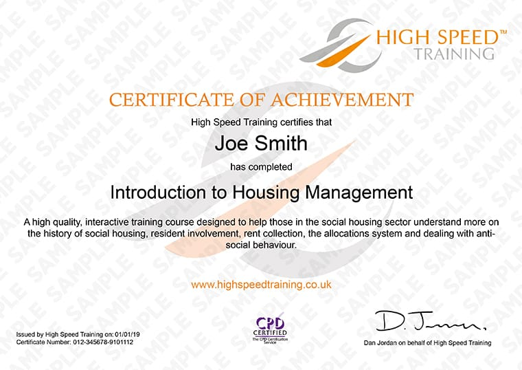 Introduction to Housing Management - Example Certificate