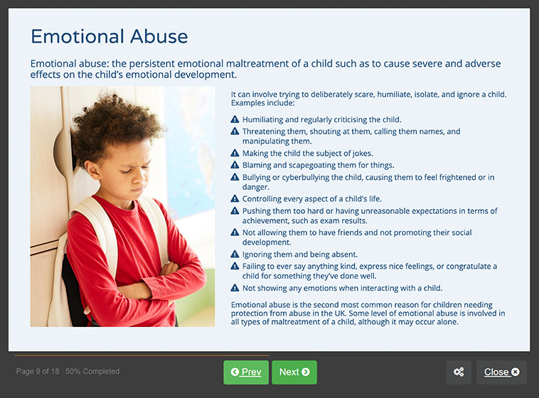 Screenshot 02 - Introduction to Safeguarding Children