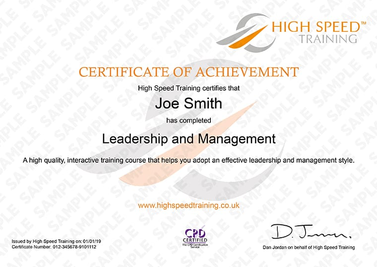 Leadership and Management - Example Certificate