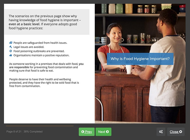 Screenshot 01 - Level 1 Food Hygiene Course