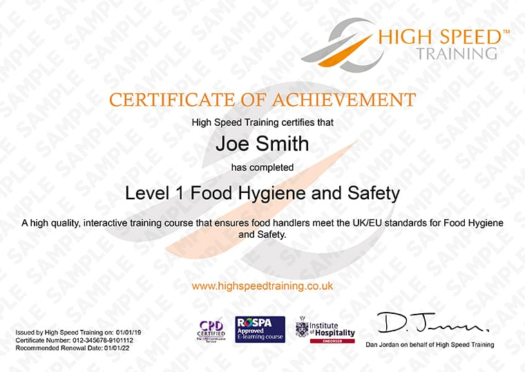 Level 1 Food Hygiene - Example Certificate