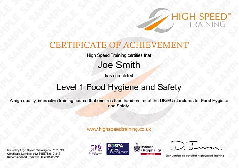 Level 1 Food Hygiene Safety Certificate Online