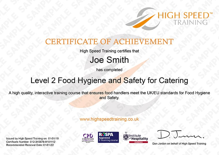 Level 2 Food Hygiene for Catering - Example Certificate