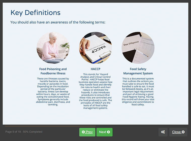Screenshot 01 - Food Hygiene Course for Retail