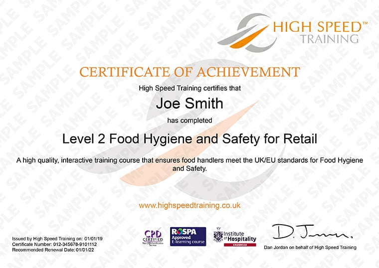 Level 2 FOod Hygiene for Retail - Example Certificate