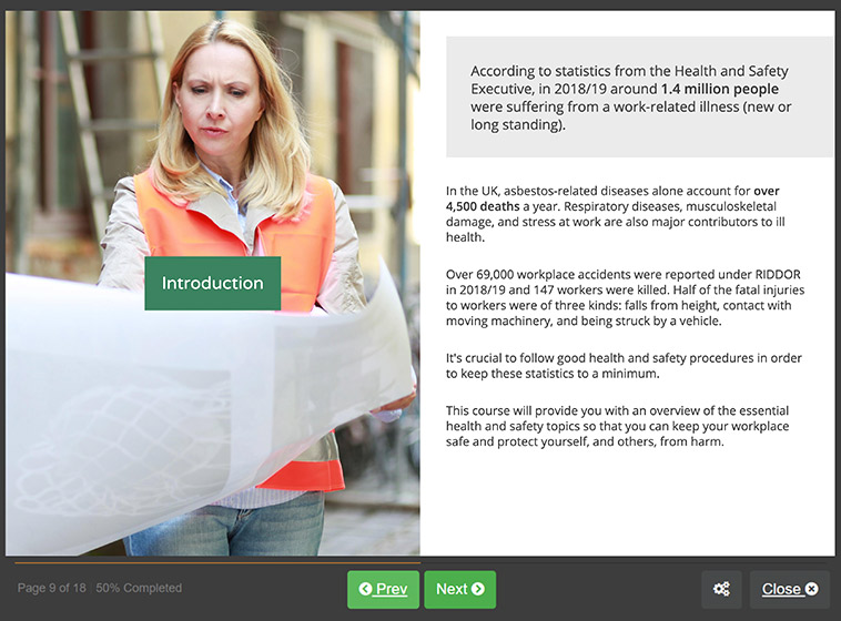 Screenshot 01 - Level 2 health and safety in the workplace Training