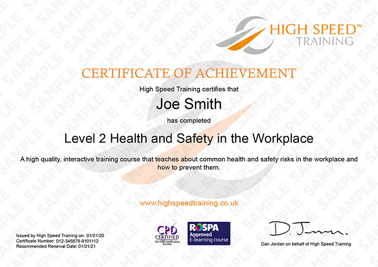 Level 2 health and safety in the workplace - Example Certificate