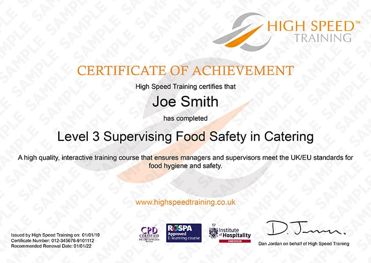 Level 3 Food Hygiene for Catering - Example Certificate