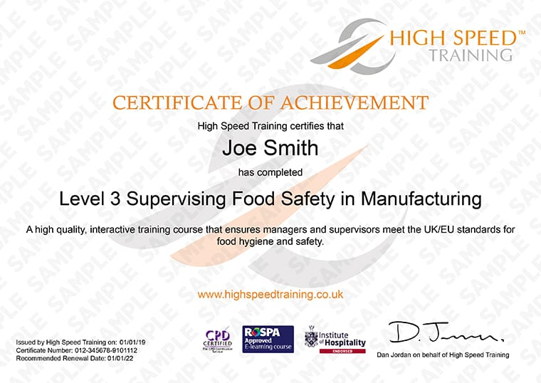 Level 3 Food Hygiene for Manufacturing - Example Certificate