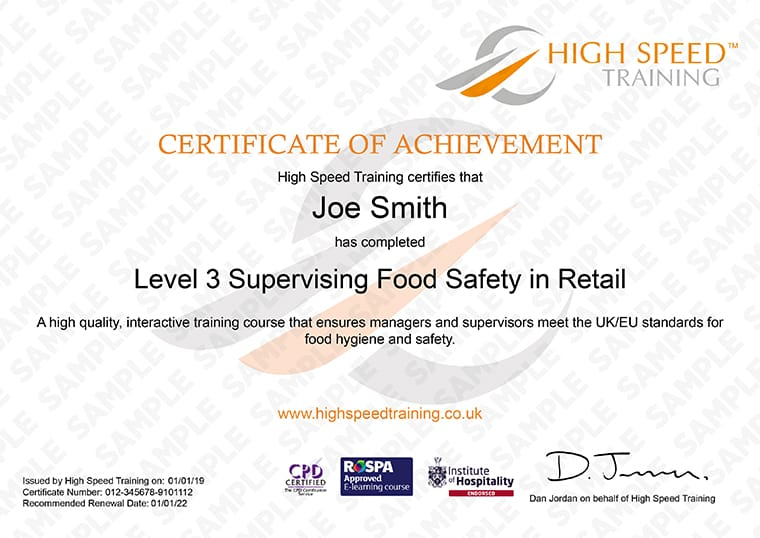 Level 3 Food Hygiene for Retail - Example Certificate
