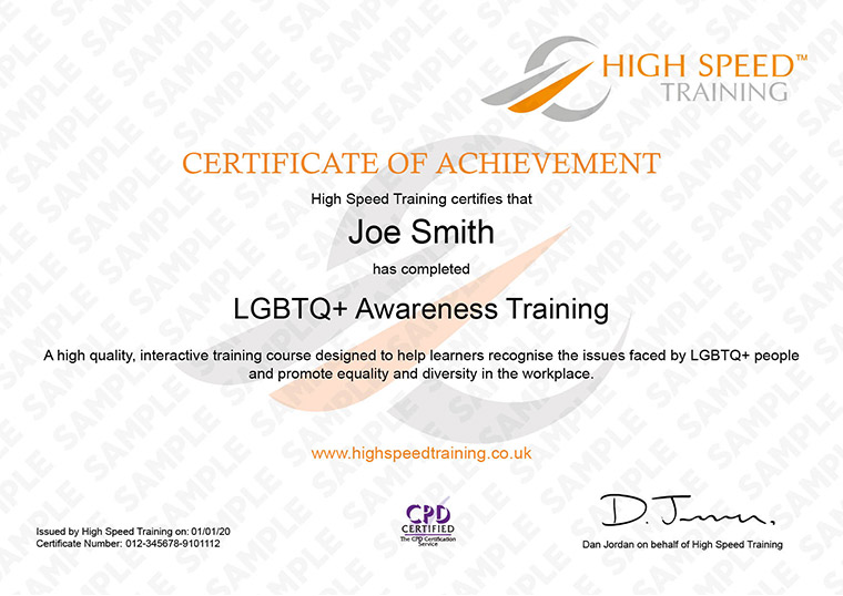 LGBT Awareness - Example Certificate