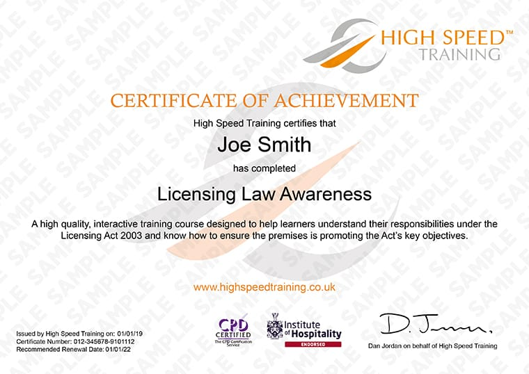 Licensing Law Awareness - Example Certificate