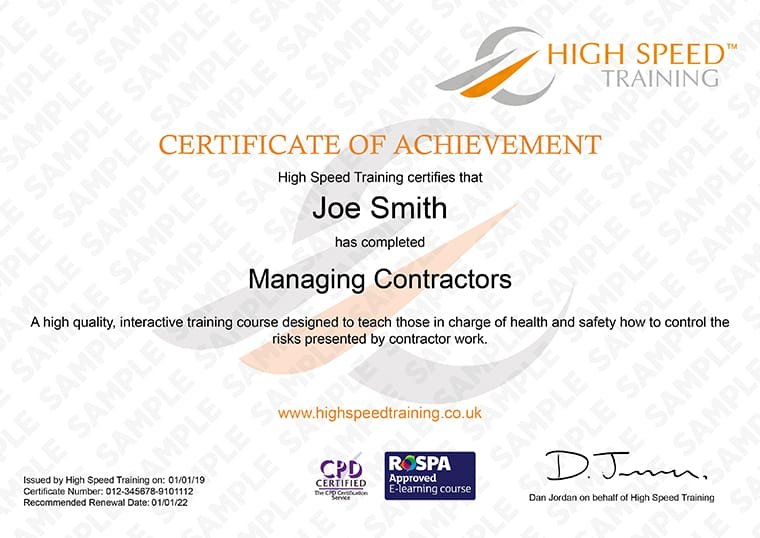 Managing Contractor - Example Certificate