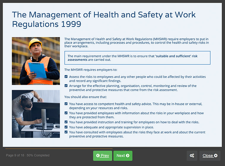 Screenshot 01 - Online Managing Safety Training