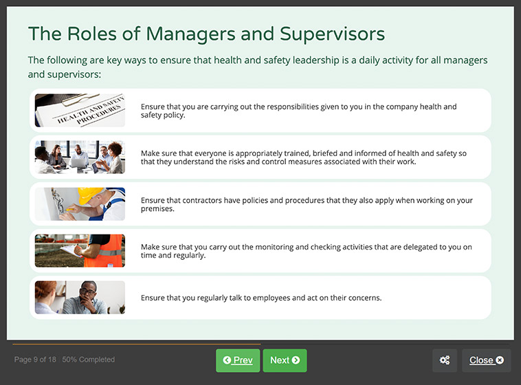 Screenshot 02 - Online Managing Safety Training