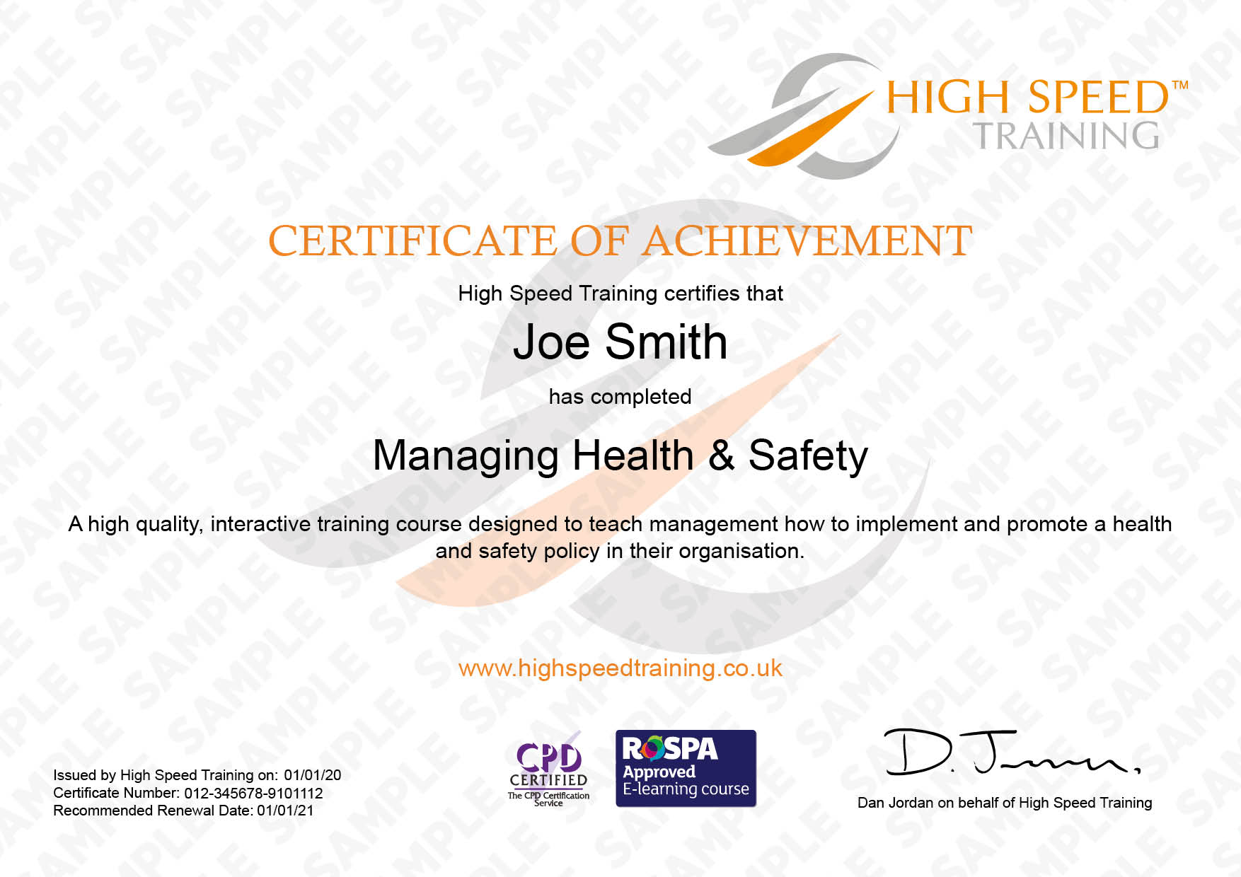 Managing Safety - Example Certificate