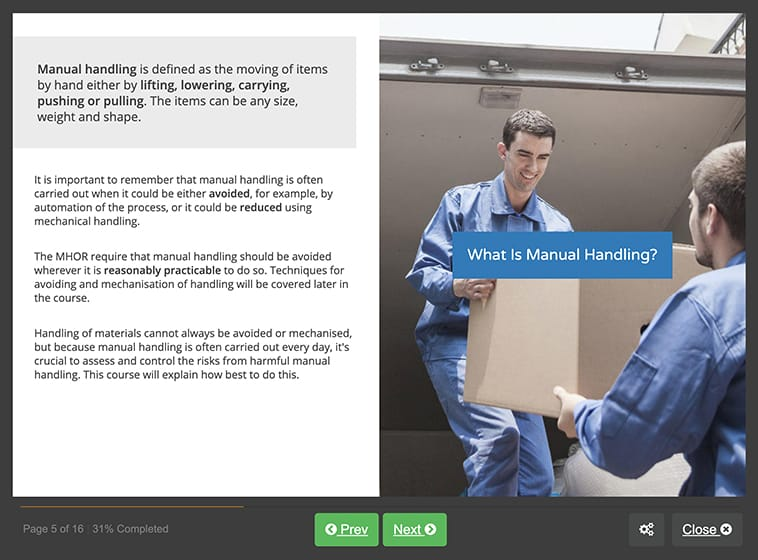 Screenshot 01 - Online Manual Handling Training