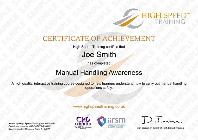 Manual Handling - Example Certificate