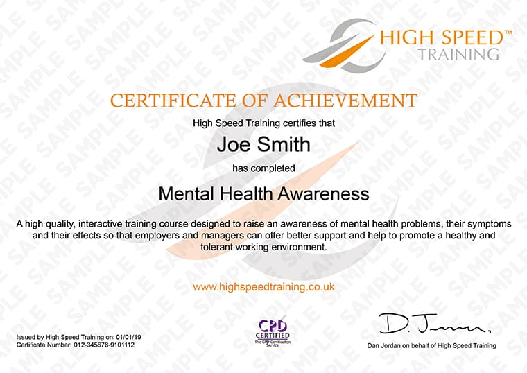 Mental Health Awareness - Example Certificate