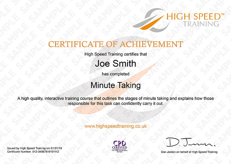 Minute Taking - Example Certificate