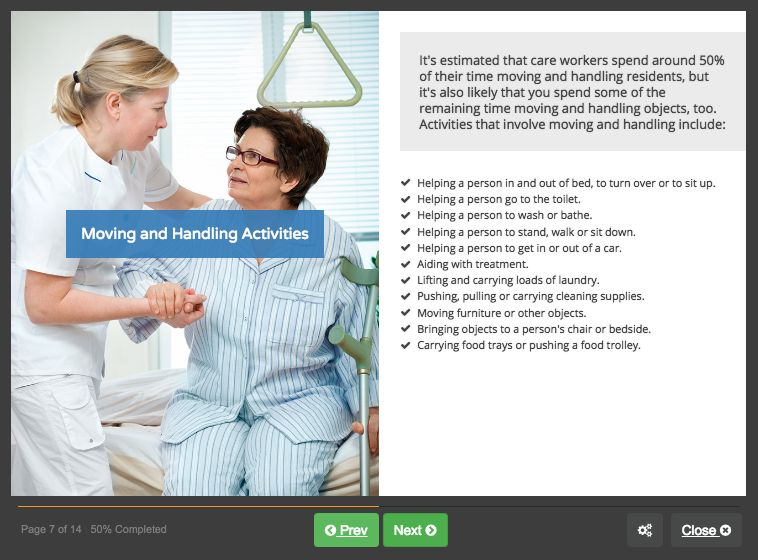 Screenshot 02 - Moving and Handling of people in residential care homes